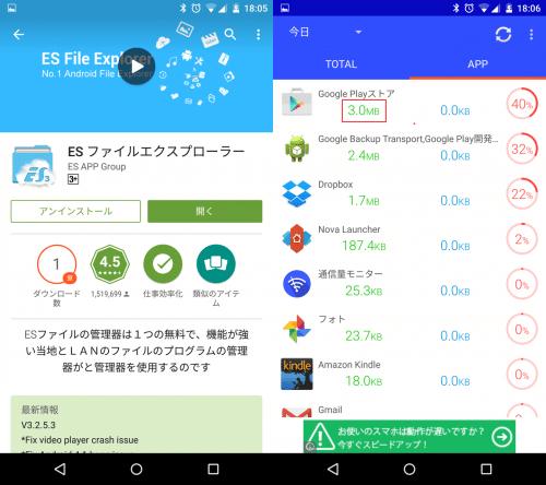 Google Playで個別のアプリページまで行くと3.0MBの通信量に