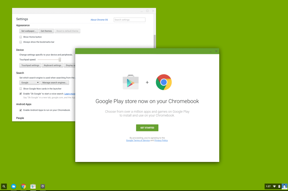 14eae5e4088fc ウインドウには「Google Play store now on your Chromebook(ChromebookでGoogle Playストアを)」と記載されており、さらに「Choose  from over a million apps and ...