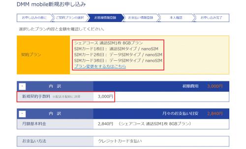 DMMモバイルのシェアコースは新規時に複数枚のSIMを申し込めば契約手数料は3000円しかかからない