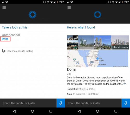 Cortanaはドーハと教えてくれて、「Doha」をタップするとドーハの基本的な情報を確認できる