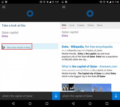 「See more result in Bing」をタップすると、ドーハに関するBingの検索結果が表示される