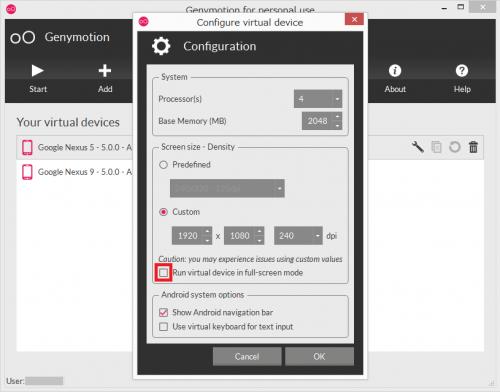 「Run virtual device in full-screen mode」にチェックを入れる