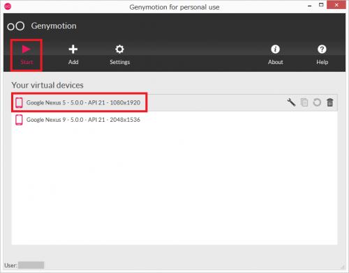 Google Nexus 5を選んで「Start」をクリック