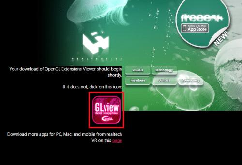 OpenGL Extensions Viewerのダウンロードが自動で始まる。始まらなければ「GLview」をクリックしてダウンロードする