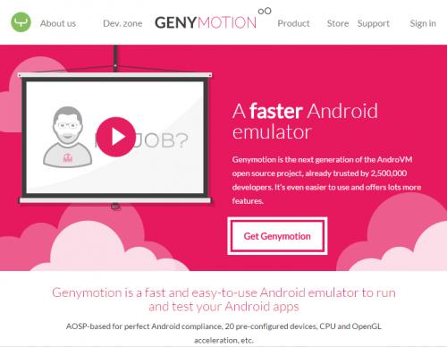 「Get Genymotion」をクリック