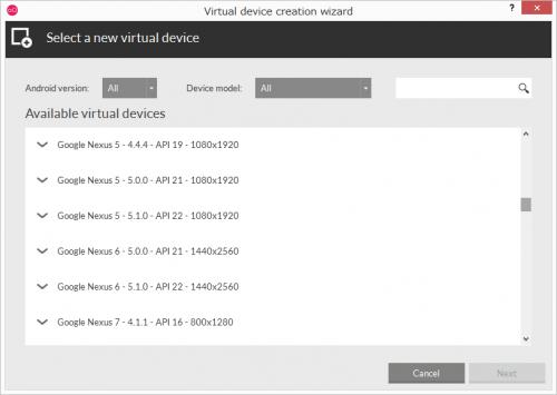 Nexus5/Nexus6も一覧に表示される