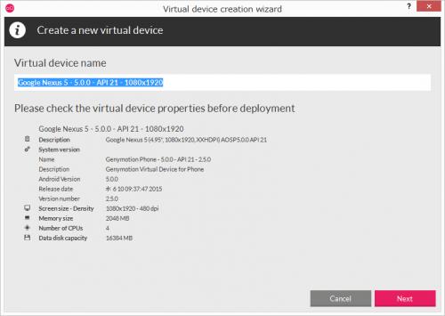 Virtual device nameで名前の変更も可能。「Next」をクリック