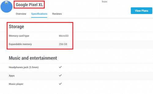 Google Pixel XLのスペック表