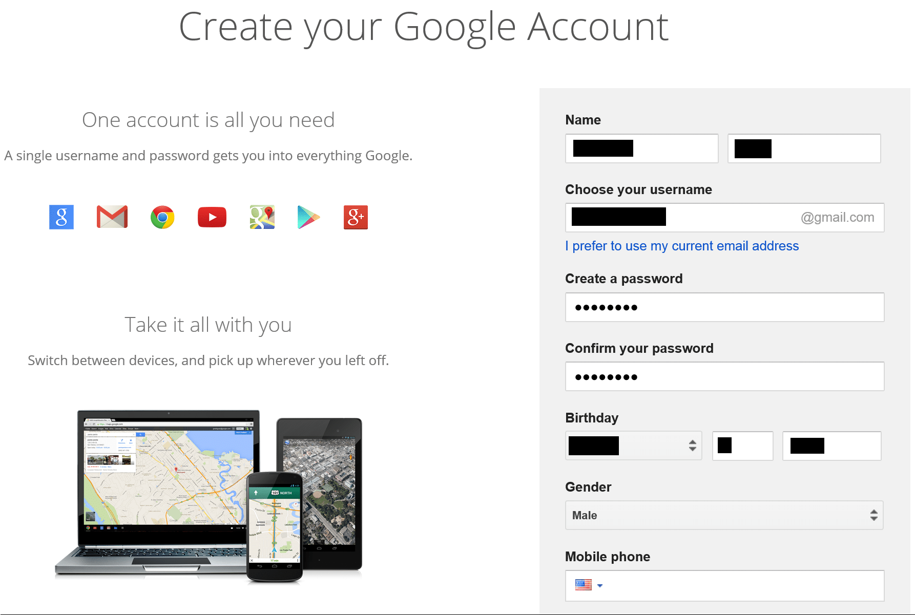 Создать аккаунт - Google Accounts 24