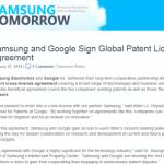 Googleとサムスンが、今後10年間の特許相互ライセンス契約を締結。お互いの特許や技術を自由に利用可能に。