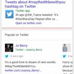 Google、スマートフォン版Googleの検索結果にTwitterの同じキーワードに関するほぼリアルタイムのつぶやきを表示するUIをテスト中。