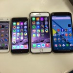 Nexus6とMoto X(2013)、iPhone6、iPhone6 Plusのサイズを比較した写真。Nexus6の縦幅は5.5インチディスプレイのiPhone6 Plusとほぼ同じで横幅は大きい。