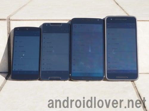左からNexus5/Nexus5X/Nexus6/Nexus6P