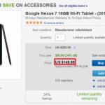 米ebayでNexus7(2013) Wi-Fiモデル 16GBが日本までの送料込みで185ドル(約19,000円)と破格でセール中。